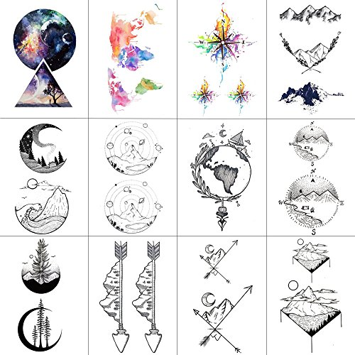 (WYUEN 12 PCS/lot Mountain Temporary Tattoo Sticker for Women Men Fake Tatoo Body Art Adult Waterproof Stickers 9.8X6cm)