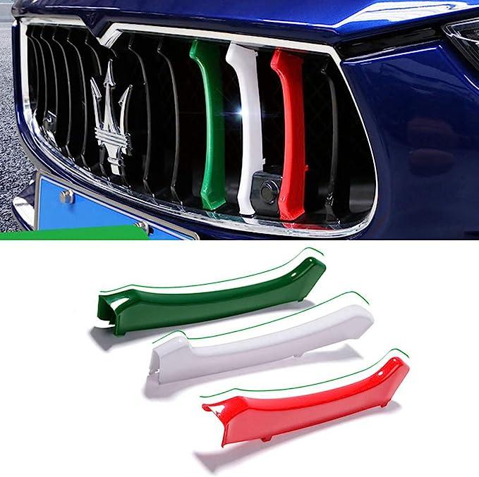 Grille Trim 3pcs Front Grille Decorative Garnish Trim for Maserati/_Levante/_Ghibli/_Quattroporte Colors of The Italian Flag 2014-2018 Red, White, Green