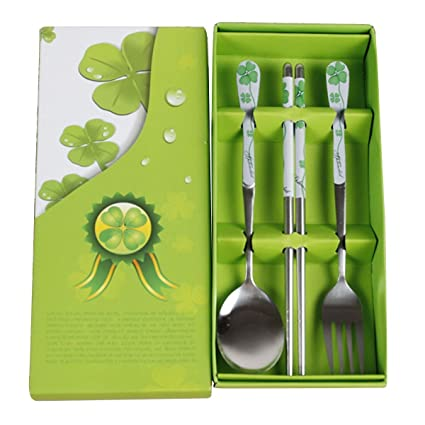TININNA uego cubertería infantil 3 piezas con esmalte, en acero inoxidable Trébol Green
