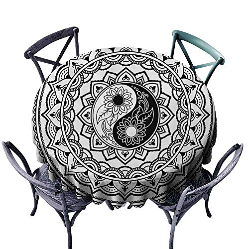 Marilec Washable Tablecloth Ying Yang Ornate Symbol with Lace Style Blossom Patterns Inspirational Far Eastern Print Black White Soft and Smooth Surface D55