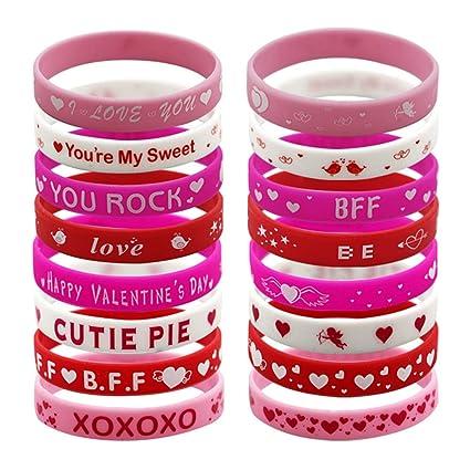 15548043182f5 Amazon.com: Coscn 40 Valentine?s Day Rubber Silicone Wristband ...