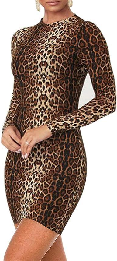 LUFENG Womens Long Sleeve High Neck Tigerskin Snakeskin Print Midi Bodycon Dress Party Club Dress