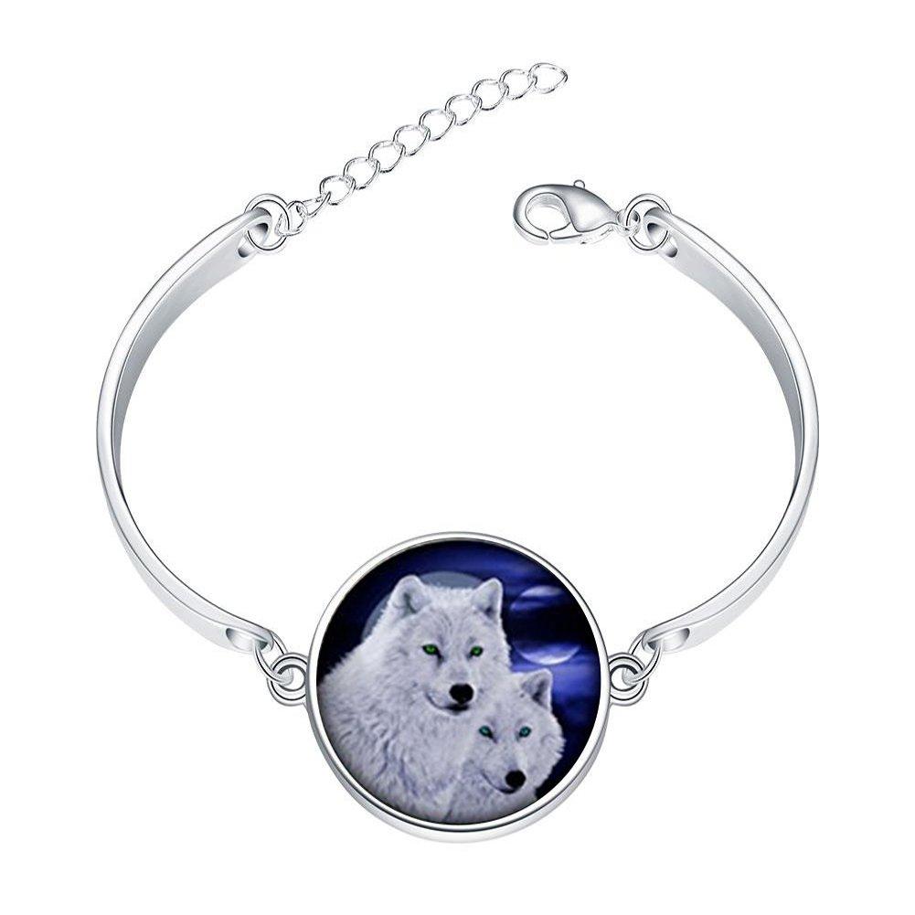 Adjustable Sterling Silver Bracelets White Lover Wolf Dome Alloy Bangle Custom Image Glass Cabochon Brace Lace LEO BON KF-LSZBSSLY-0402