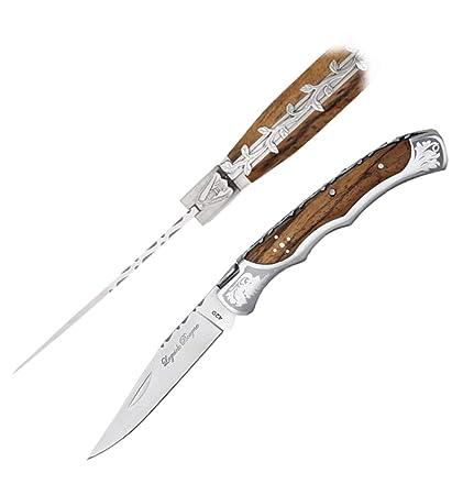 4162 BAROCK Taschenmesser von hand gefertigt mit ZEBRA holz .12cm folded
