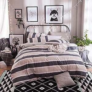Modern minimalist four-piece cotton men's striped cotton bedding,Queen,K