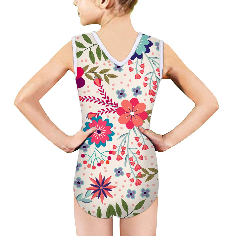 Dreaweet Girls Swimsuit Elegant Floral Printed One Piece Flounce Beach Sport Bikini Swimwear