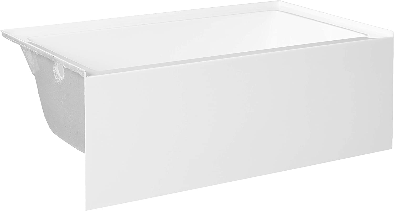 "Kingston Brass VTAP603622L Aqua Eden 60-Inch Acrylic Alcove Tub with Left Hand Drain Hole, (L) x 36"" (W) x 21-5/8"" (D), White"