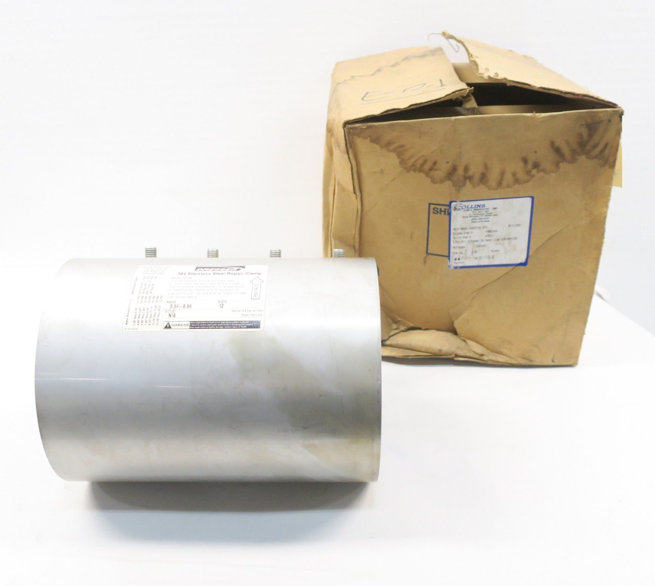 NEW DRESSER 8364-0894-220 8.54-8.94IN X 12IN STAINLESS PIPE REPAIR CLAMP D585120