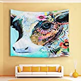 HVEST Cow with Flowers Tapestry,Watercolor Animal Wall Hanging Blankets for Bedroom,Living Room,Dorm Wall Decor,60 W X 40 H inch