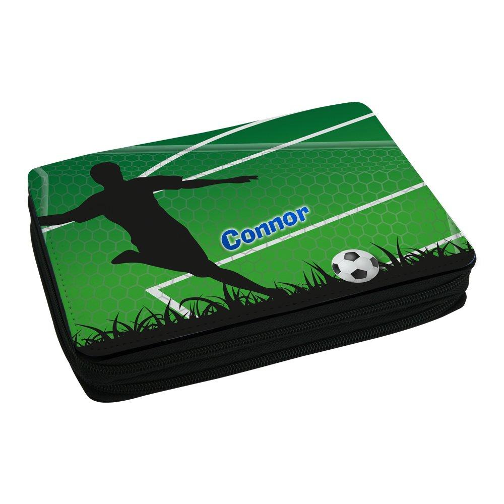Eurofoto Fußball-Mäppchen mit Name Connor und schönem Fußballer-Motiv für Jungs inkl. Stifte, Lineal, Radierer, Spitzer S025004328