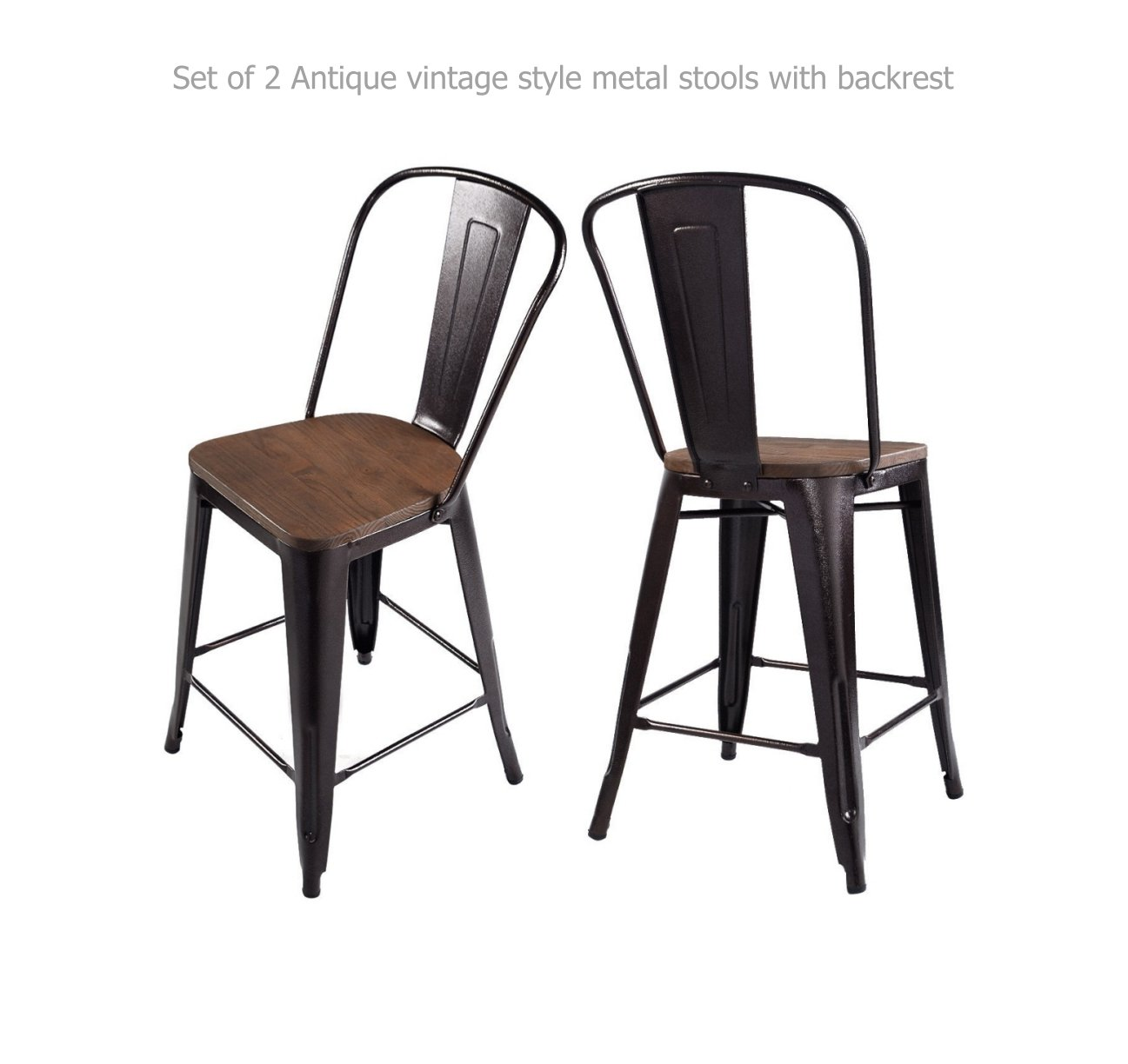 Vintage Antique Style Metal Rustic Wood Bar Stools School Office Kitchen Dining Chairs Sturdy Heavy Duty Steel Frame Scratch Resistant Comfortable Backrest New Copper Set of 2 - 44''H #1209a
