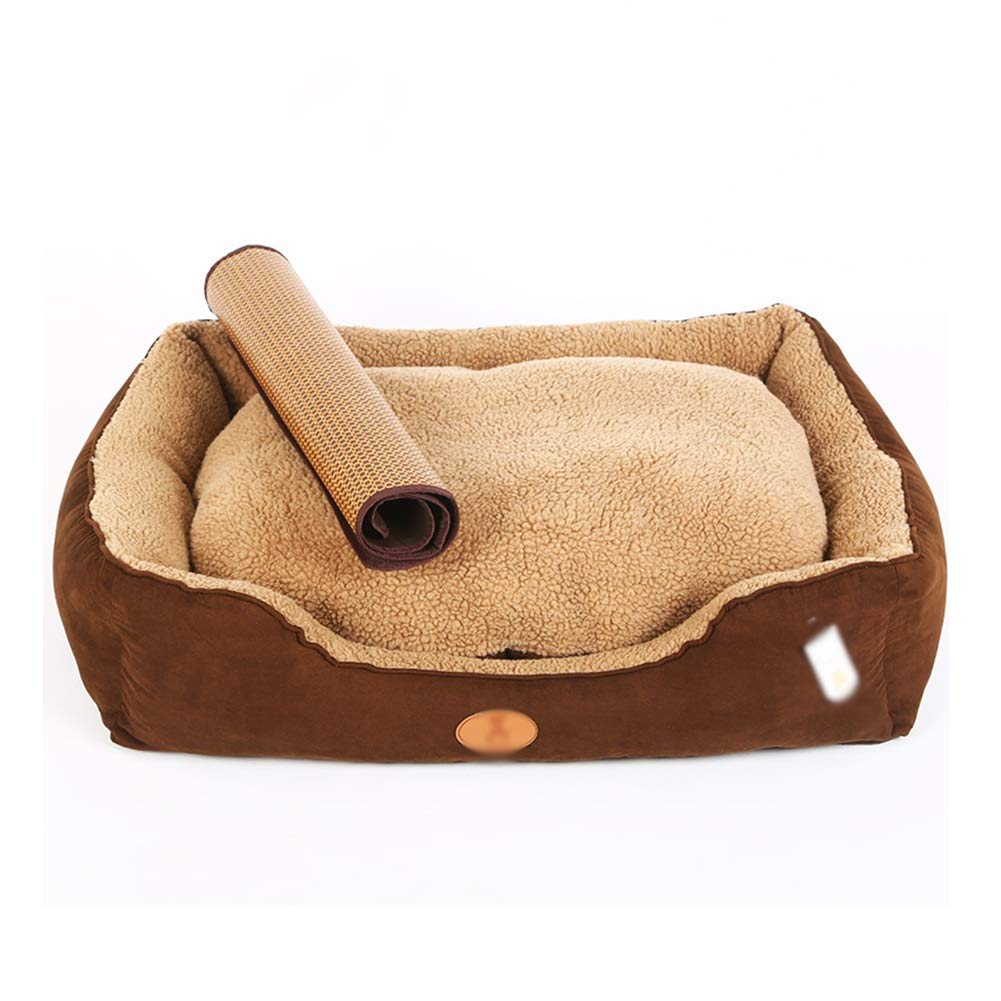 75x62x18cm Haipurpleis Brown orthopedic pet bed, with summer sleeping mat and washable cover, super soft sleeping surface, for dogs and cats (size  61 x 48 x 18cm) (color  , Size   75x62x18cm)