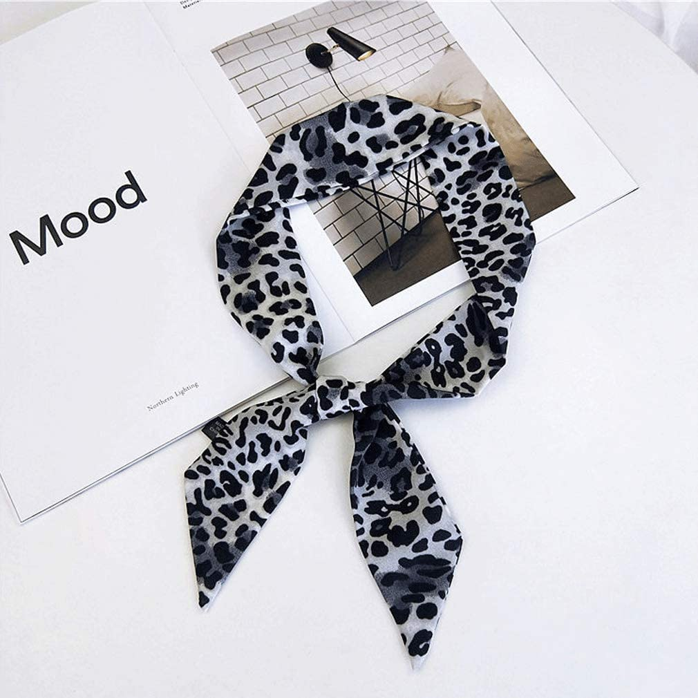Piel de leopardo peque/ño pa/ñuelo de seda femeninas atadas y Bolsas pelo de la cabeza de la mano multifunci/ón cinta pa/ñuelos para las mujeres