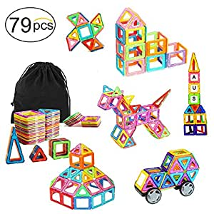 Ausear Portable 79pcs Magnetic Building Blocks Magnet Tiles Educational Stacking Blocks Toys Gifts with Wheels for Toddlers Kids Boys Girls Over 3 Years Old Perfect for Travel