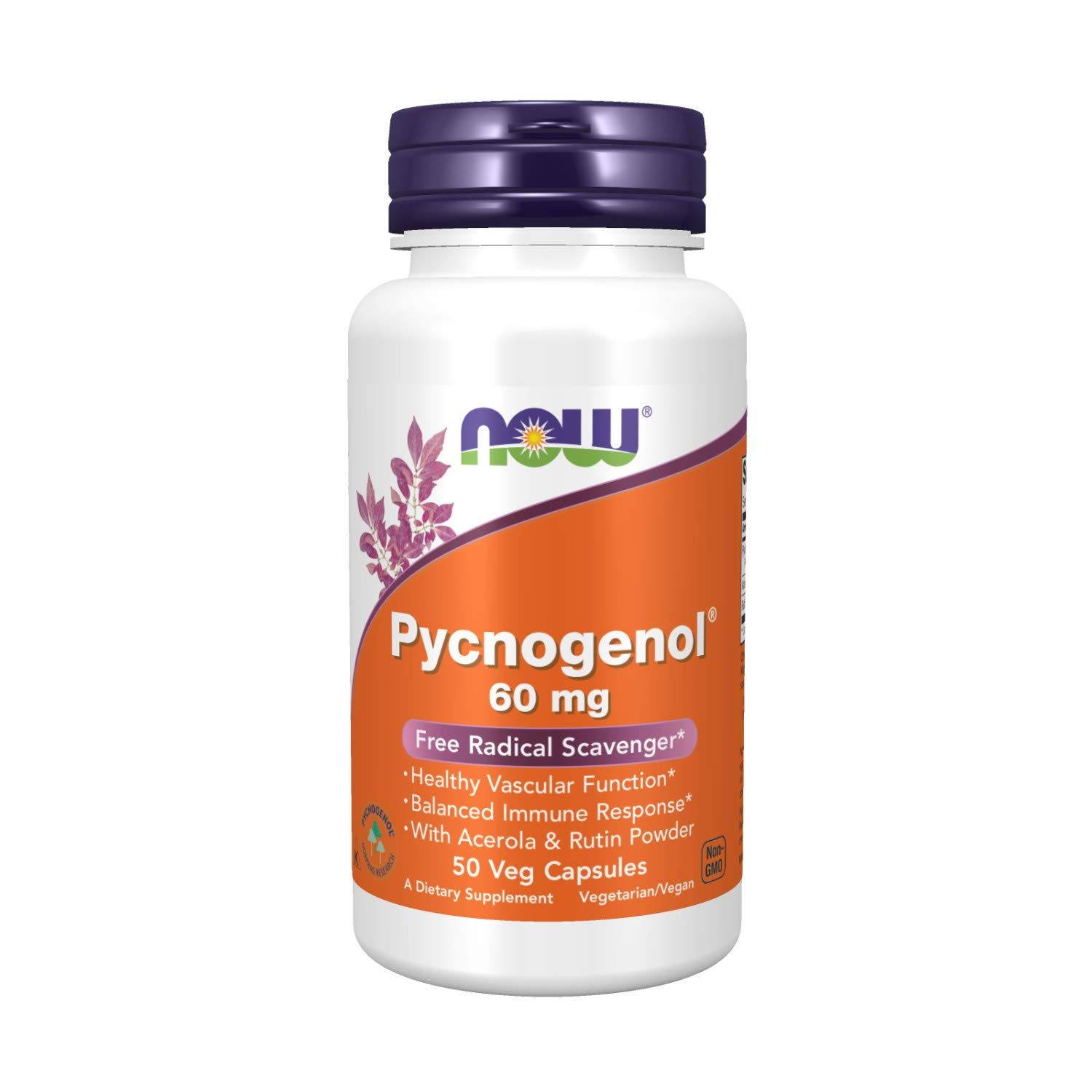 NOW Supplements, Pycnogenol 60 mg (a Unique Combo of Proanthocyanidins from French Maritime Pine) with Acerola & Rutin Powder, 50 Veg Capsules