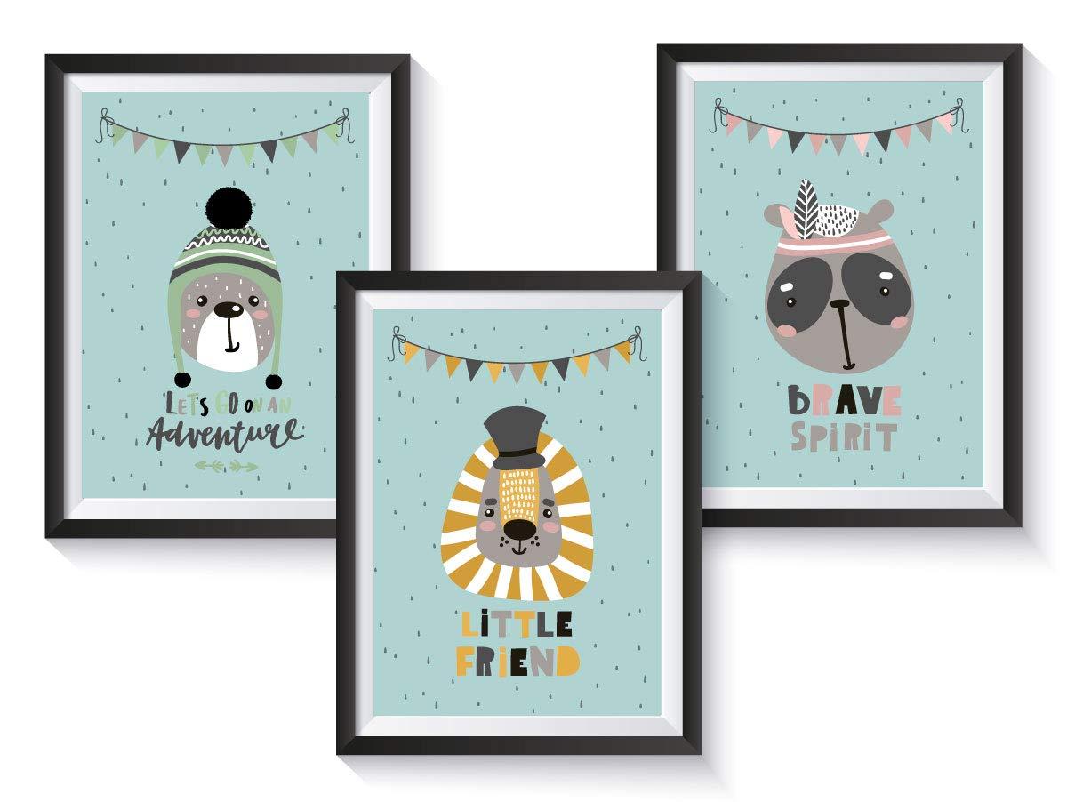 3er Set Kinderzimmer Babyzimmer Poster Tiere Din A4 Oder A3