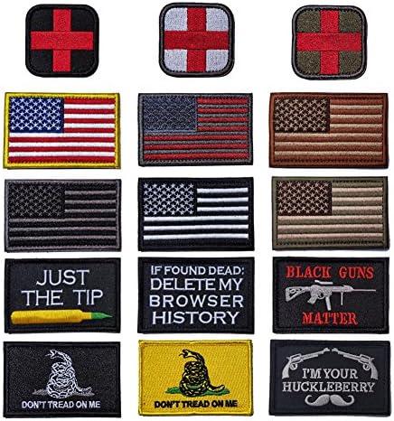 R.SASR - Juego de 15 parches tácticos de velcro militar moral, bandera de Estados Unidos y parche moral. (Mezcla de 15 piezas): Amazon.es: Juguetes y juegos
