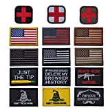 #2: R.SASR Bundle 15 Pieces Tactical Military Morale Velcro Patch Set, USA Flag Patches and Morale Patch. (Mixed 15 Pieces)