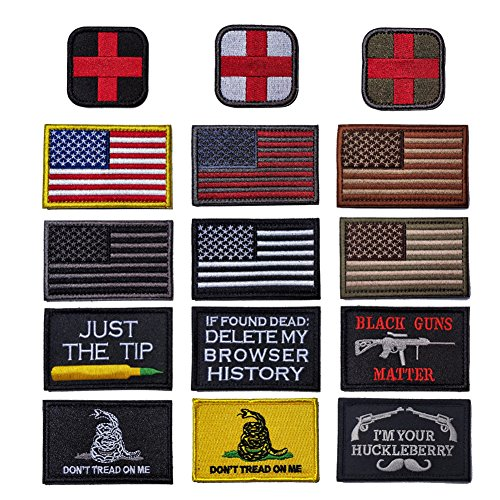 R.SASR Bundle 15 Pieces Tactical Military Morale Patch Set, USA Flag Patches and Morale Patch. (Mixed 15 Pieces)