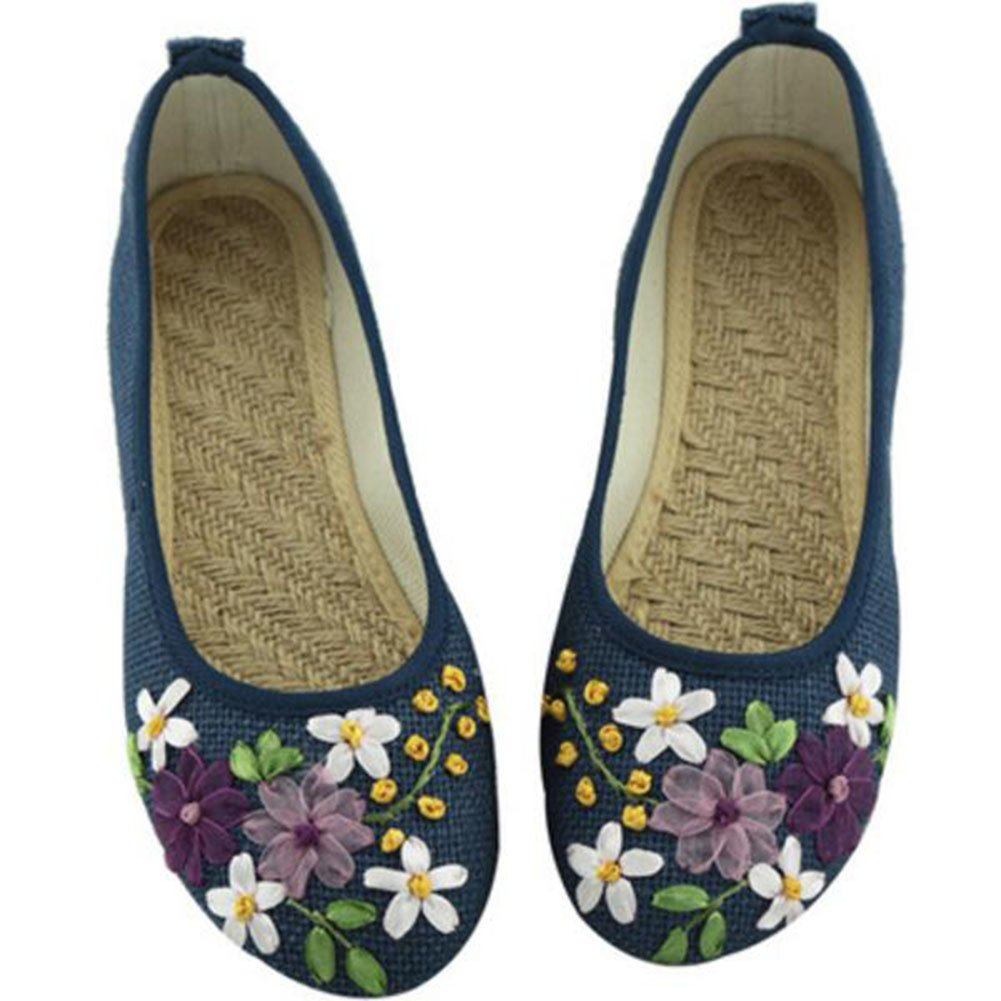 COVOYYAR Women's National Style Embroidered Flower Ballet Flats Slip On Shoes