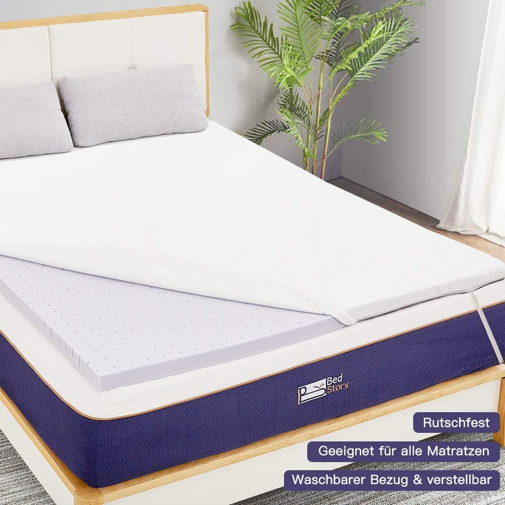 BedStory Colchón Topper de Espuma con Memoria, con Esencia de Lavanda, Cubierta de Microfibra, Topper viscoelástico para Cama, CertiPUR-US Certificado, ...