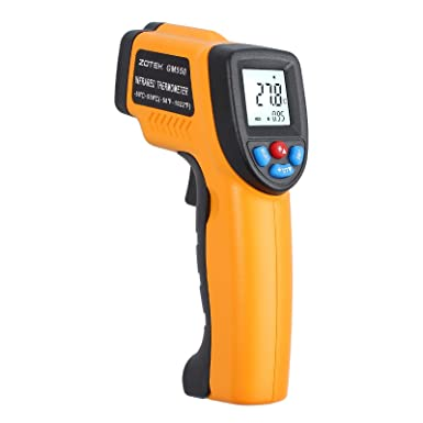 Proster Emissivity Adjustable Infrared Thermometer Gun Non Contact Infrared Temperature Kitchen Laser Thermometers -50 to 550 -58 F to 1022 F High Low Temperature Alarm Max Min Average DIF Reading