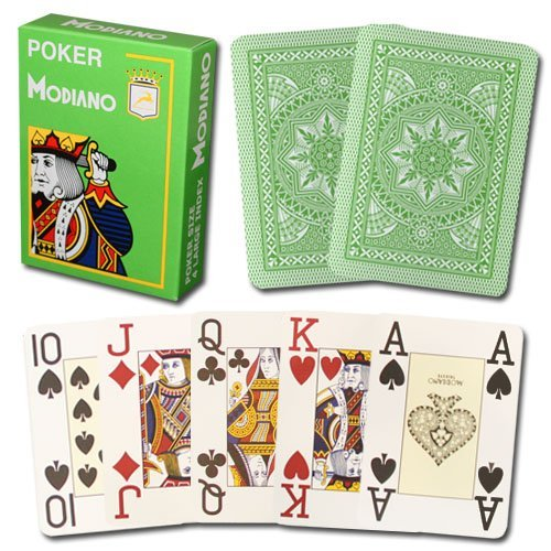 - Modiano Cristallo 100% Plastic 4-Pip Jumbo Index Playing Cards (Light Green)
