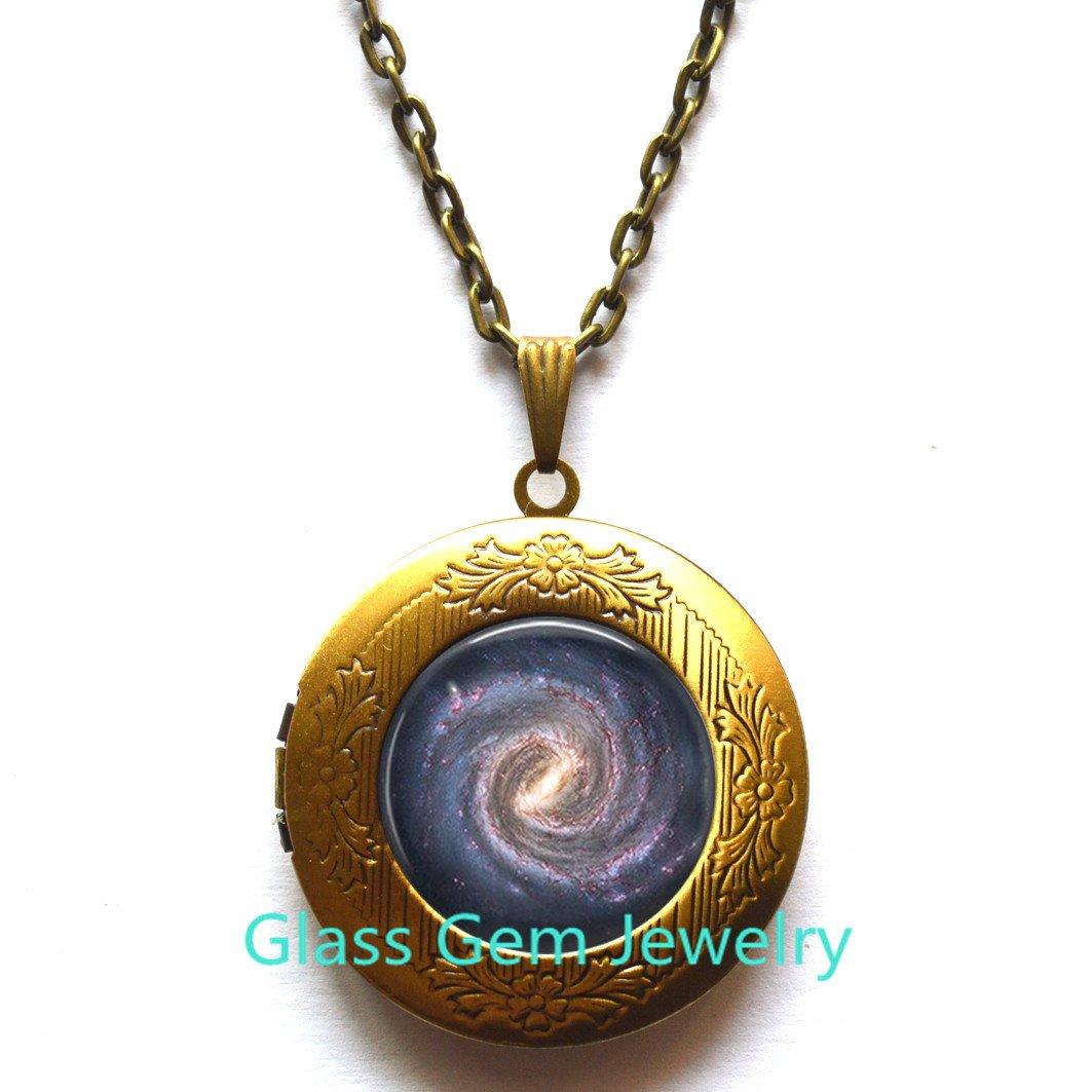 Galaxy Glass Locket Pendant Solar System Locket Pendant,Galaxy Locket Necklace Galaxy Charm Galaxy Jewelry,Q0152