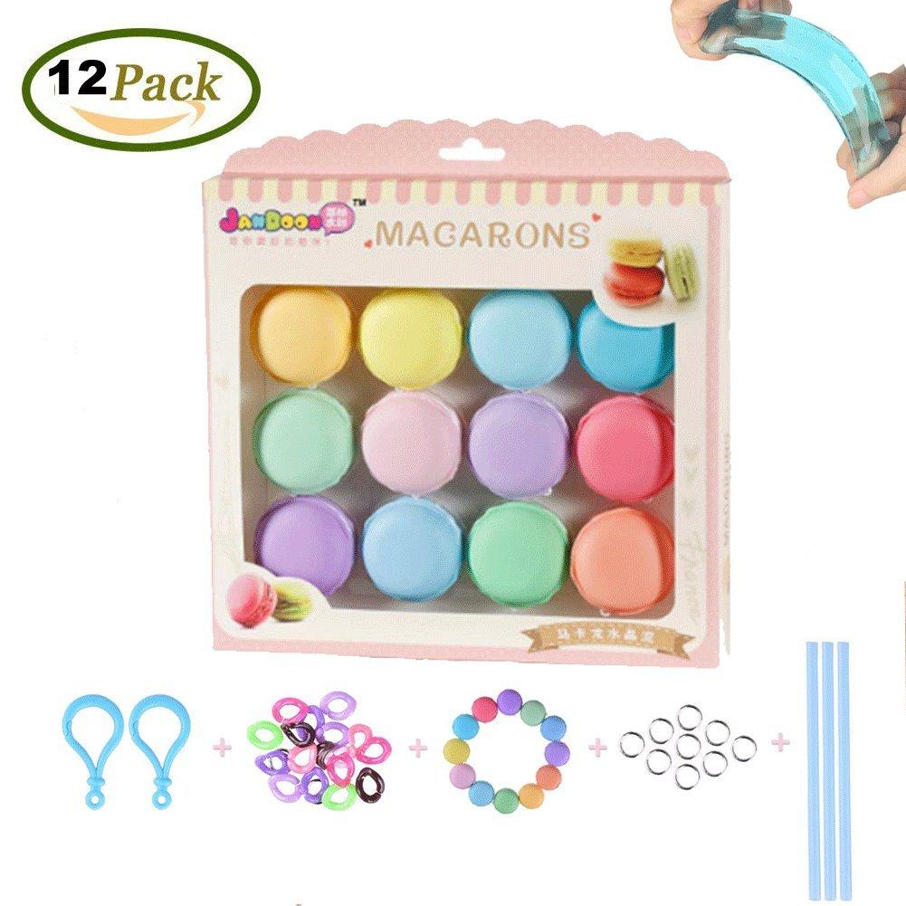 SIMUER 12Pcs Macarons Slime Kit Crystal Slime Mud Magica Argilla colorito gelatina trasparente con 12 colori, Il regalo ideale per bambini