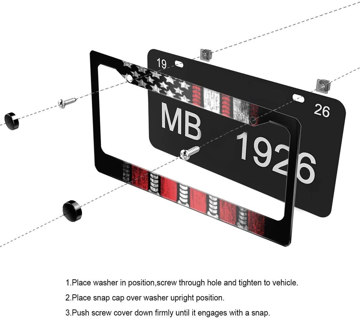 leisure MART License Plate Frame Art of Baseball and Flag Car Tag Frame Car Plate Frame License Plate Holder Auto License Plate Frame