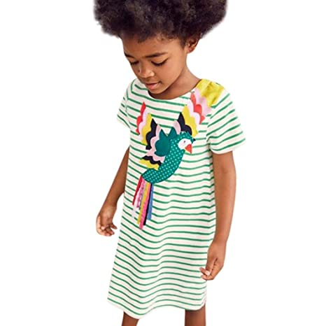918c894a1763 Outtop(TM) Clothes Child Fathion Summer Pattern Dress Short Sleeve Striped  Dress Outfit Clothes 3T(2~3years) Green  Amazon.in  Health   Personal Care