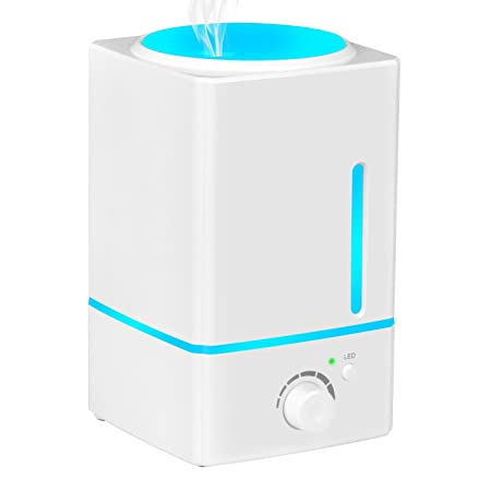 Koios Humidifiers for Bedroom – 4L Advanced Easy-Clean Top-Filling Design, Ultrasonic Cool Mist Humidifier with Intelligent Constant Humidity Timer Function, 3 Mist Modes, 3-Year Warranty
