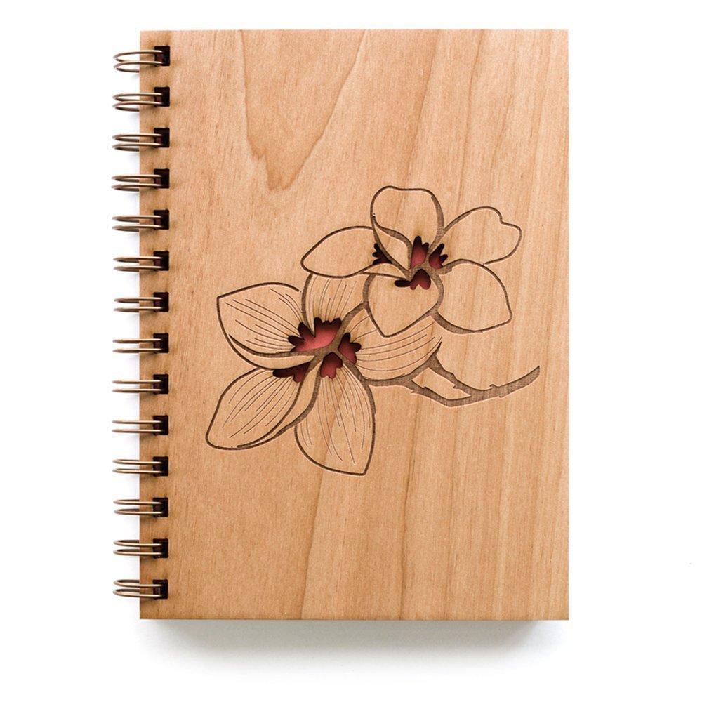 Plumeria Laser Cut Wood Journal (Notebook / Birthday Gift / Gratitude Journal / Handmade)