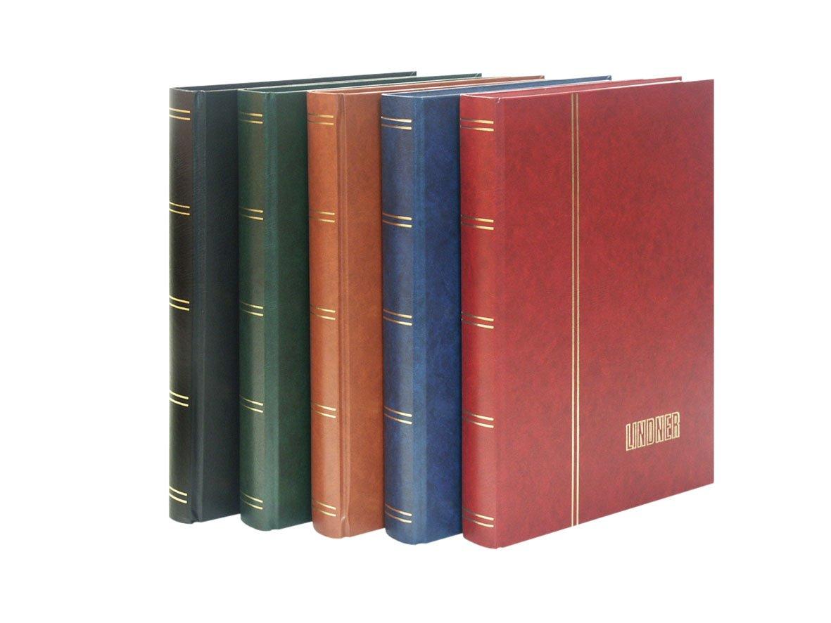 LINDNER Das Original Stockbook Elegant, Blue, Padded, 60 Black Pages, Transparent Strips, 9,05x12,00 inches
