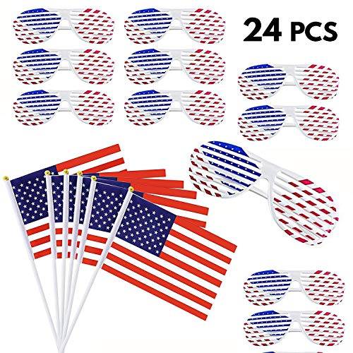 12 Pairs American Flags & 12 Pcs White USA Designed Shutter Shades - Eyewear Party Props for Patriotic Parties, Independence Day, 4th of July Sunglasses, Veterans Day Decoration, Birthday Party Favors ()