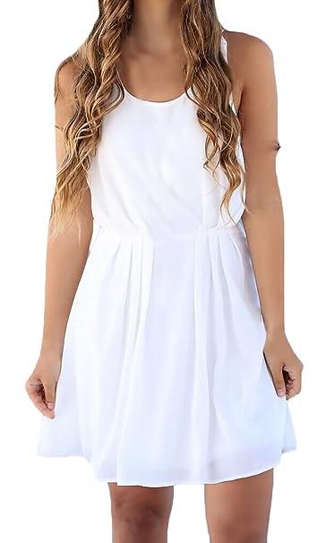 Vestidos Verano Mujer Elegante Encaje Sin Mangas Espalda Abierta Fiesta Corto Vestido Joven Moda Casual Colores Sólid Playa Mini Dress Disfraz Túnica: ...