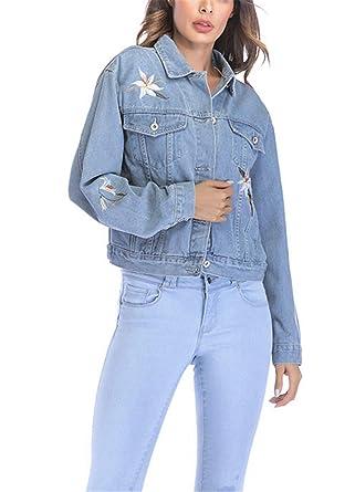 WLITTLE Damen Jeansjacke Damenjacke Jeans Jacke Kurze Jacke Denim Jacke  Blue Denim 4695970c54
