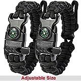 whistle buckle 1 2 - A2S Paracord Bracelet K2-Peak - Survival Gear Kit with Embedded Compass, Fire Starter, Emergency Knife & Whistle - Pack of 2 - Slim Buckle Design (Black/Black Adjustable Size)