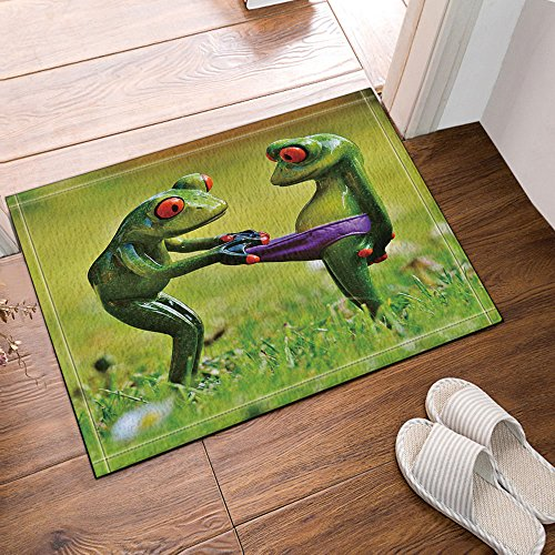 NYMB Animals Decor Frogs fall in Lover Bath Rugs, Non-Slip Doormat Floor Entryways Outdoor Indoor Front Door Mat, Kids Bath Mat, 15.7x23.6in, Bathroom Accessories