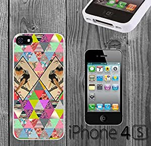 Triangle Pattern Birds Custom made Case/Cover/skin FOR iPhone 4/4s - White - Rubber Case ( Ship From CA)