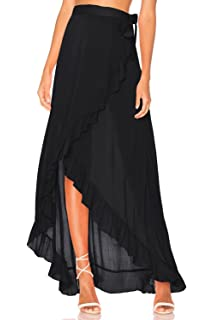 40831d46492 FOCUSNORM Women Mesh Wrapped Chiffon Skirt Tie Fastening See Through Beach  Cover Up Flounced Skirt