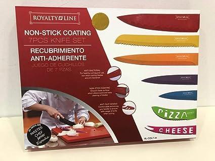 Royalty Line Switzerland – Juego de 7 cuchillos en acero inoxidable + 1 pelador de legumbres