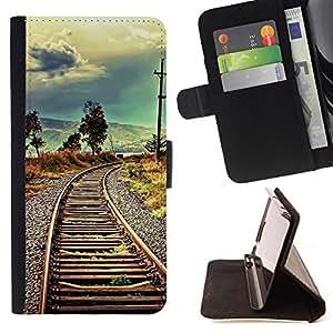 BullDog Case - FOR/Samsung Galaxy A3 / - / railroad nature vignette meaning deep /- Monedero de cuero de la PU Llevar cubierta de la caja con el ID Credit Card Slots Flip funda de cuer