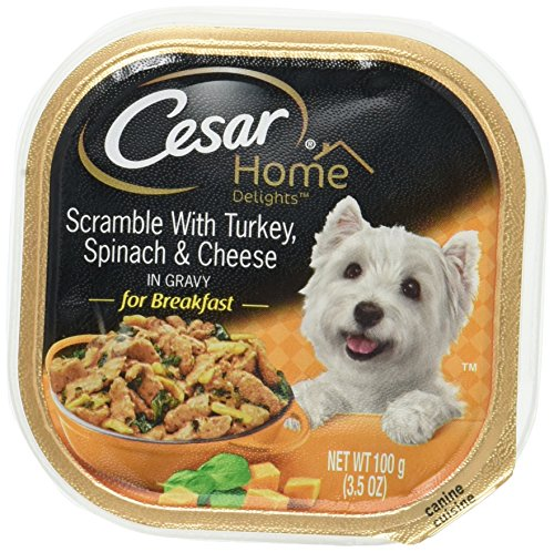 CESAR HOME DELIGHTS Scramble With Turkey, Spinach and Cheese Wet Dog Food Trays 3.5 Ounces (Pack of 24)