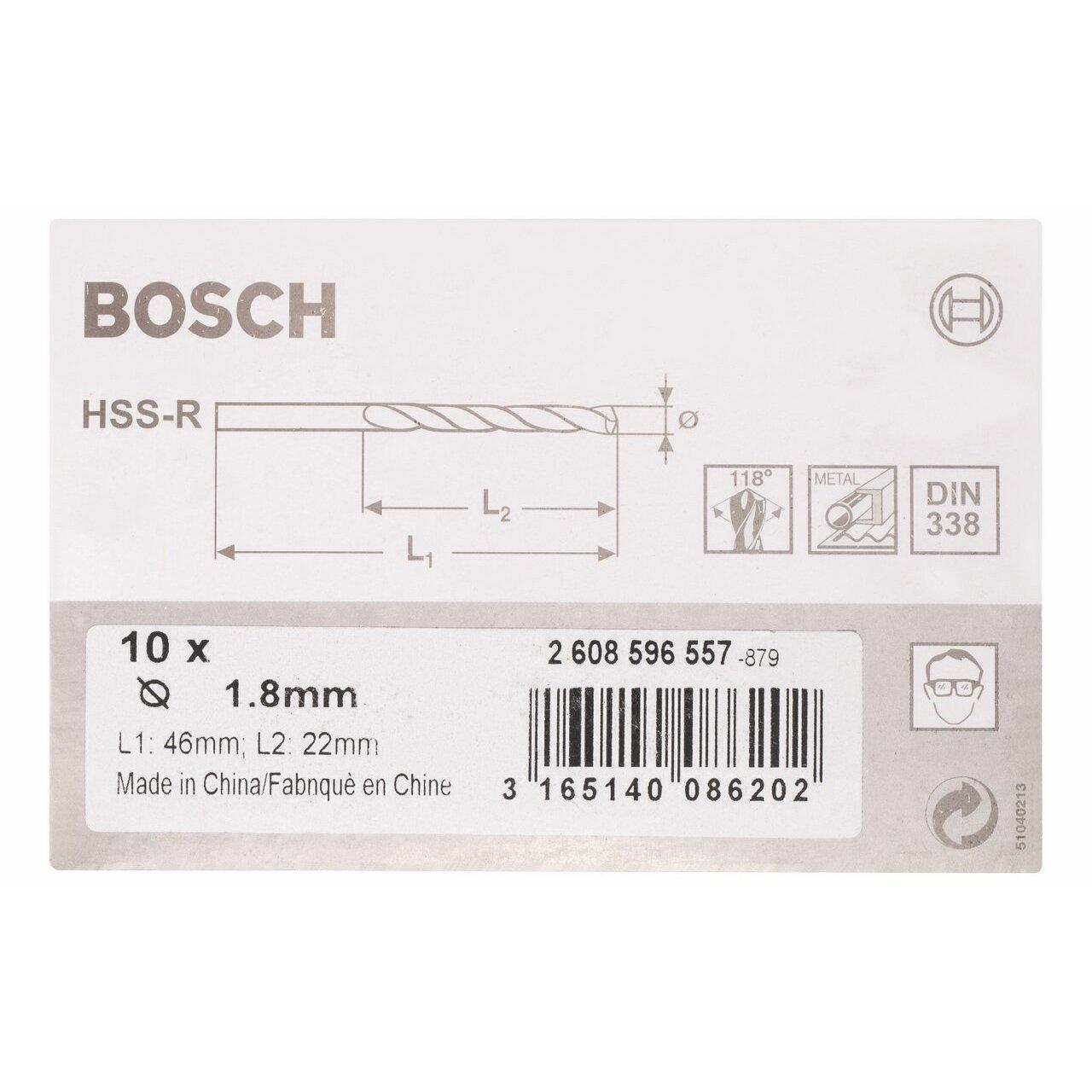 Bosch 2608596557 Foret /à m/étaux lamin/é HSS-R DIN 338 /Ø 1,8 mm 10 pi/èces