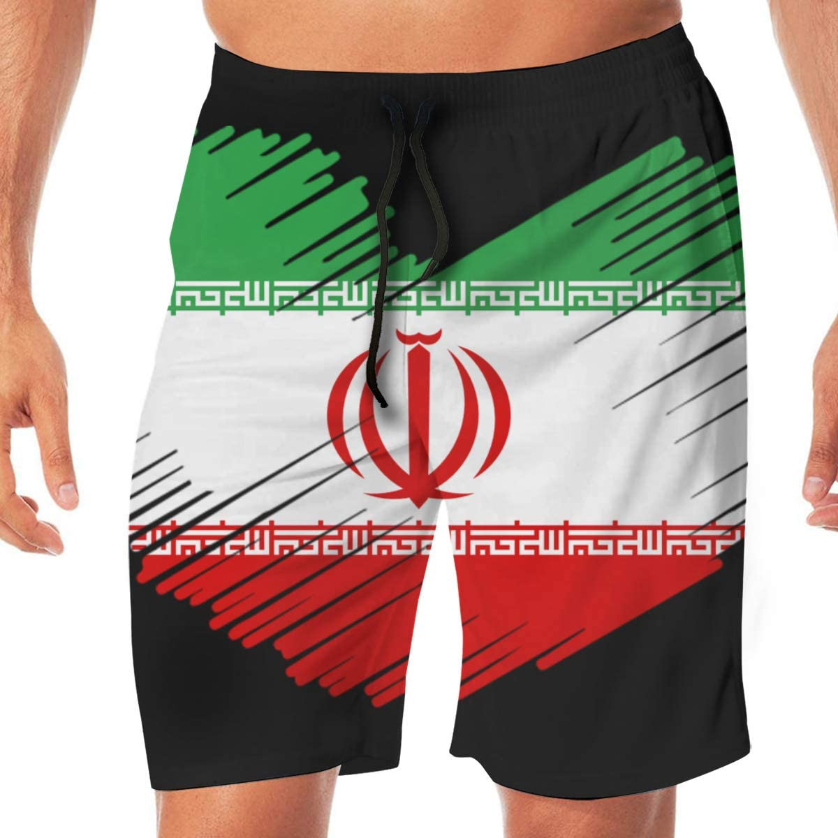 Iran Flag in Heart Shape Mens Quick Dry Beach Board Shorts Drawstring Swimming Shorts Best for Rungning