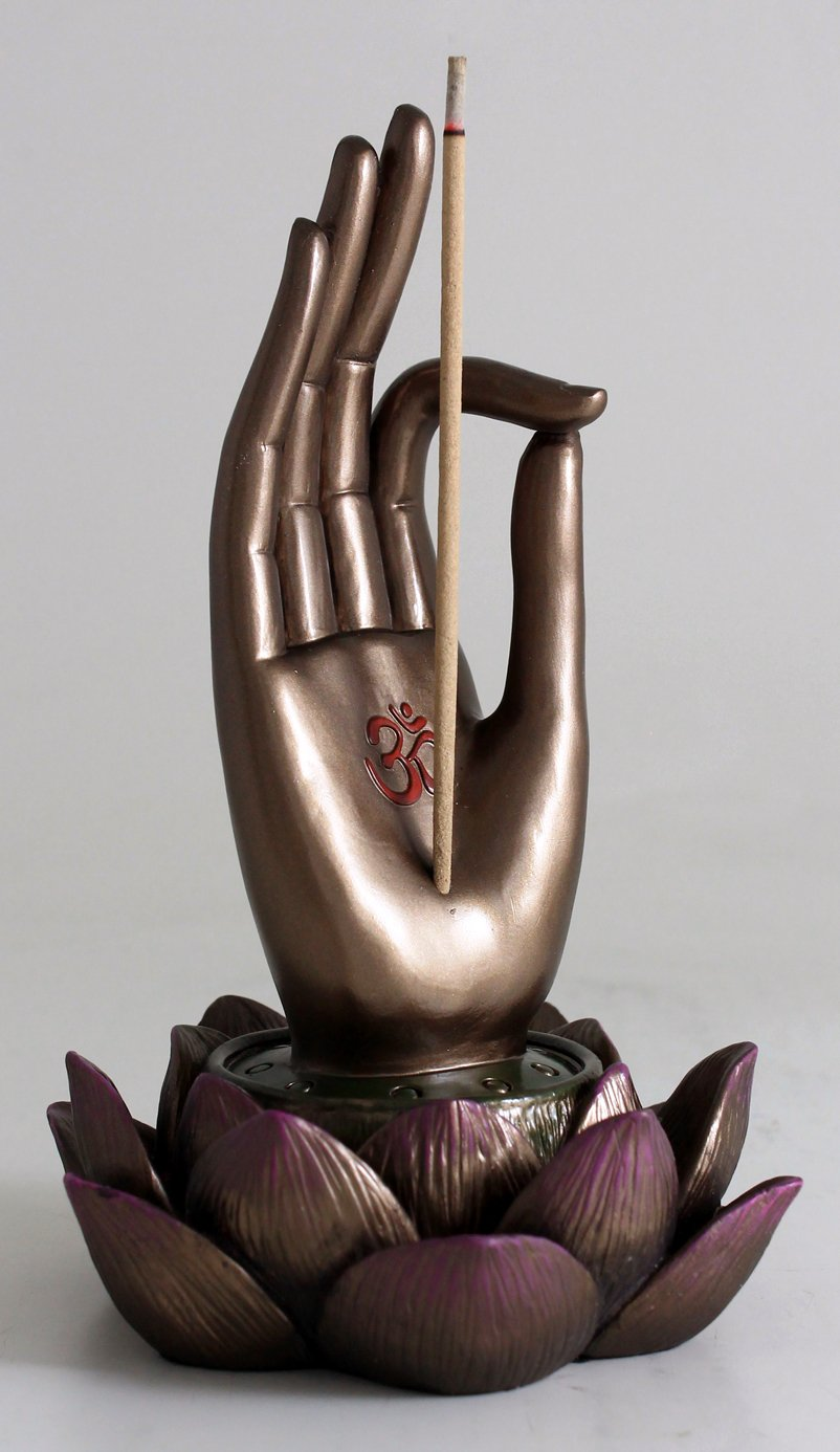 Top Collection Buddha Hand and Lotus Flower Vitarka Mudra Incense Holder Incense Burner by Top Collection (Image #6)