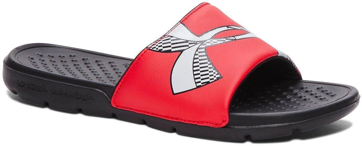 949997479 Amazon.com   Under Armour Kids Boy's UA Ignite IV SL Sandal (2 LITTLE KID  M, BLACK/RED)   Sport Sandals