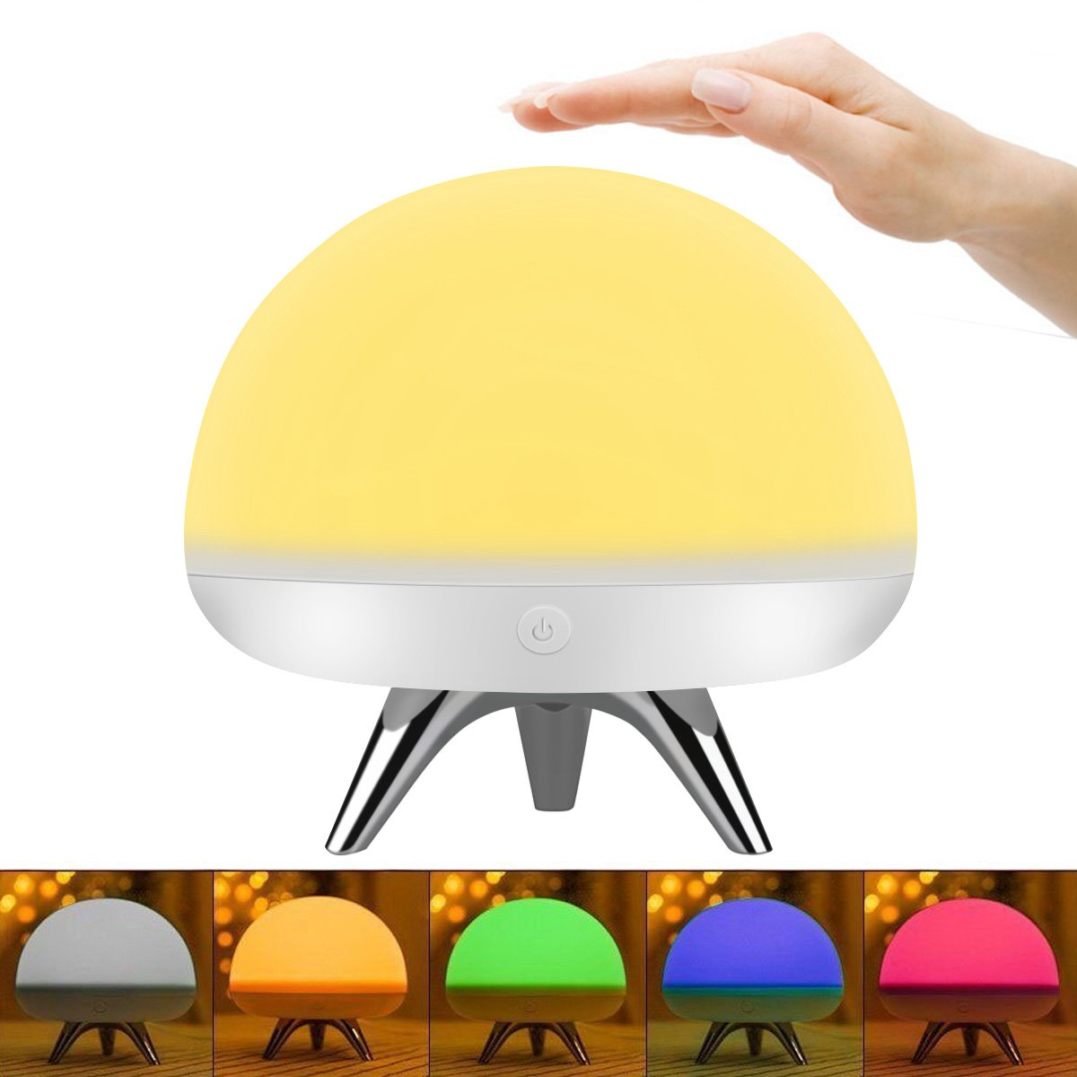 Intsun Children Kids Night Light, LED Silicone Toy Nightlight, Baby Rooms Nursery Lamps, Bedroom Touch Sensor Table Lamps Christmas Gifts with 4 Lighting Modes, 5 Colors,USB Rechargeable