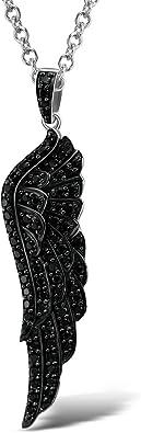 Santuzza 925 Sterling Silber Anhänger Rhodiniert schwarz Spinell Angel Wing
